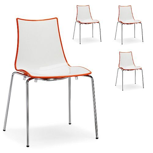 Zebra Bicolore Chrome Leg High Gloss Stacking Canteen Chair White/Orange Set Of 4