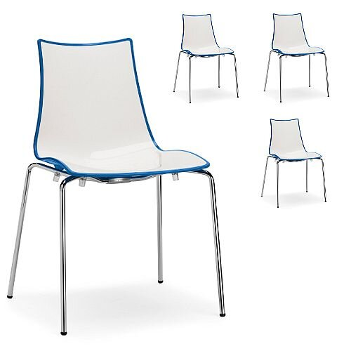 Zebra Bicolore Chrome Leg High Gloss Stacking Canteen Chair White/Cornflower Blue Set Of 4