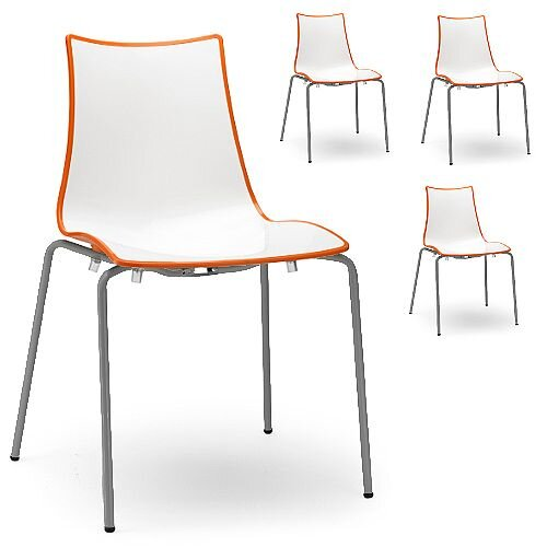 Zebra Bicolore Anthracite Leg Outdoor High Gloss Stacking Chair White/Orange Set Of 4