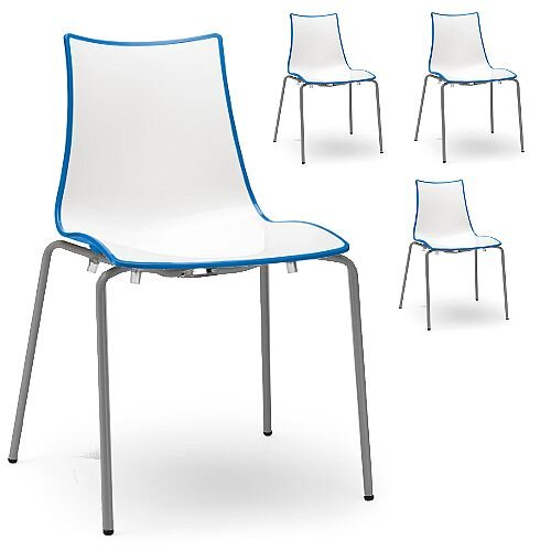 Zebra Bicolore Anthracite Leg Outdoor High Gloss Stacking Chair White/Cornflower Blue Set Of 4