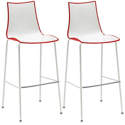 Zebra Bicolore Bar Stool With H800mm White Coated Base White/Red Set of 2