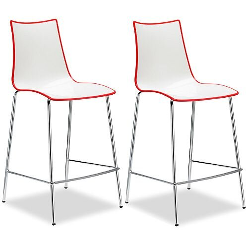Zebra Bicolore Bar Stool With H650mm Chrome Base White/Red Set of 2