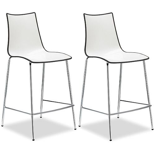 Zebra Bicolore Bar Stool With H650mm Chrome Base White/Anthracite Set of 2