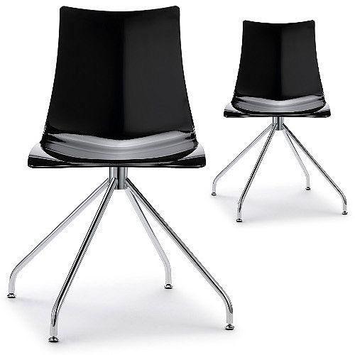Zebra Antishock Canteen & Breakout Chrome Trestle Base Chair Glossy Black Set of 2