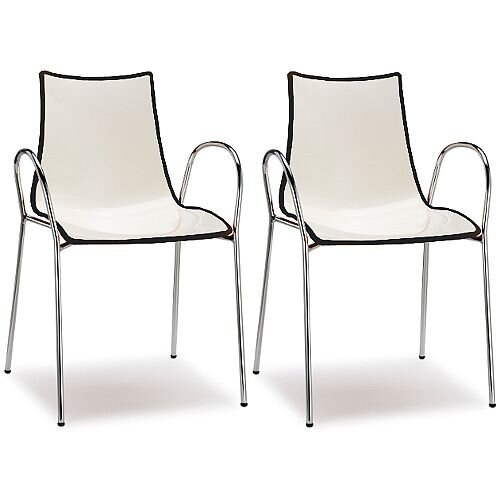 Zebra Bicolore Chrome Leg High Gloss Stacking Canteen Chair With Arms White/Anthracite Set Of 2