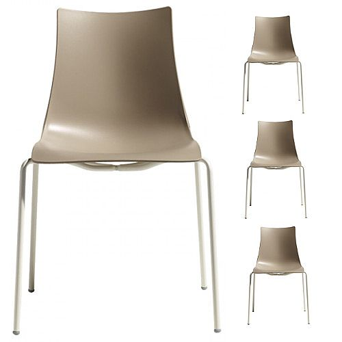 Zebra Technopolymer Outdoor Stacking Chair with Linen Coated Leg Set of 4 Dove Grey