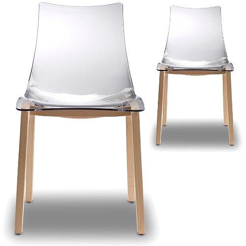 Natural Zebra Antishock Canteen &Breakout Wooden Leg Chair Transparent Set of 2