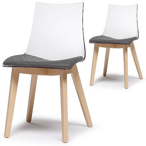 Natural Zebra Antishock Canteen &Breakout Wooden Leg Chair With Grey Fabric Cushion Transparent Set of 2