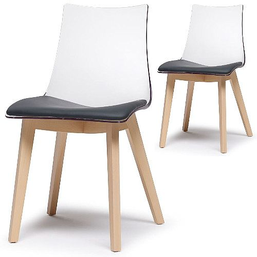Natural Zebra Antishock Canteen &Breakout Wooden Leg Chair With Anthracite Imitation Leather Cushion Transparent Set of 2