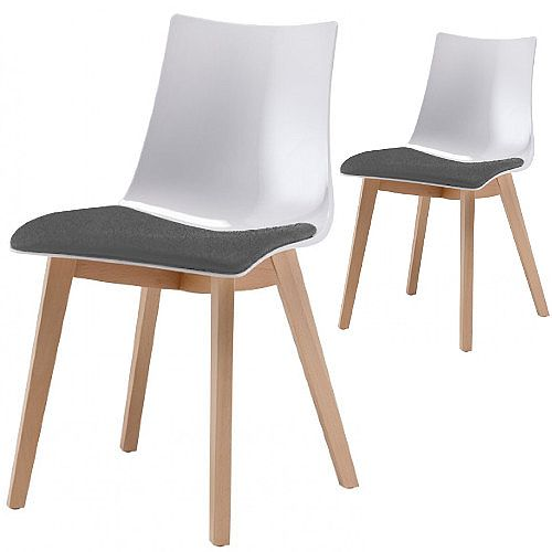 Natural Zebra Antishock Canteen &Breakout Wooden Leg Chair With Grey Fabric Cushion Glossy White Set of 2
