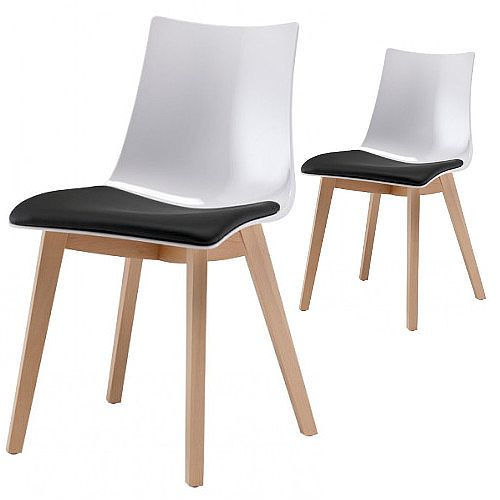 Natural Zebra Antishock Canteen &Breakout Wooden Leg Chair With Anthracite Imitation Leather Cushion Glossy White Set of 2