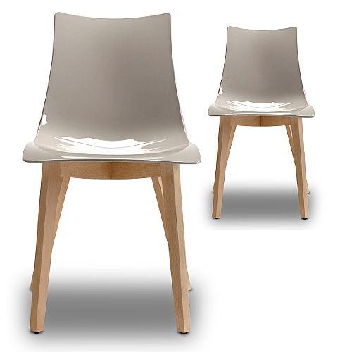 Natural Zebra Antishock Canteen &Breakout Natural Beech Leg Chair Glossy Dove Grey Set of 2