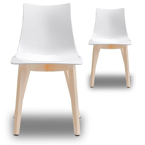 Natural Zebra Antishock Canteen &Breakout Bleached Beech Leg Chair Glossy White Set of 2