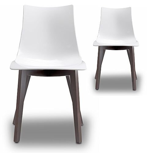 Natural Zebra Antishock Canteen &Breakout Wenge Beech Leg Chair Glossy White Set of 2