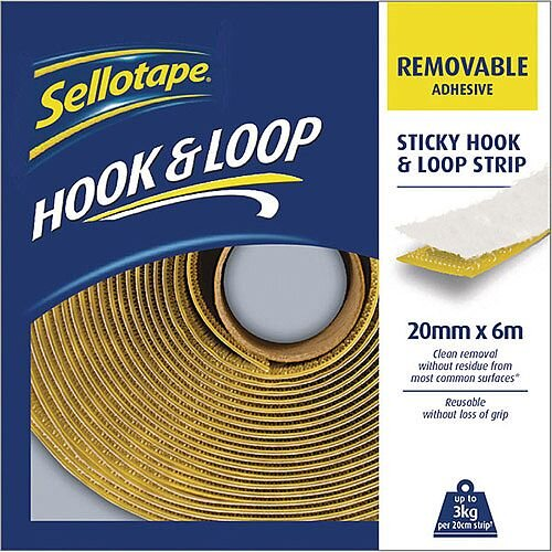 Sellotape Hook and Loop Strip 20mm x 6m Removable