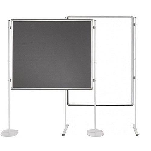 Double Sided Felt Notice Board Grey &Whiteboard 1200 x 1800mm For Franken Pro Partition System  - Feet are not Included, Available to Buy Separately