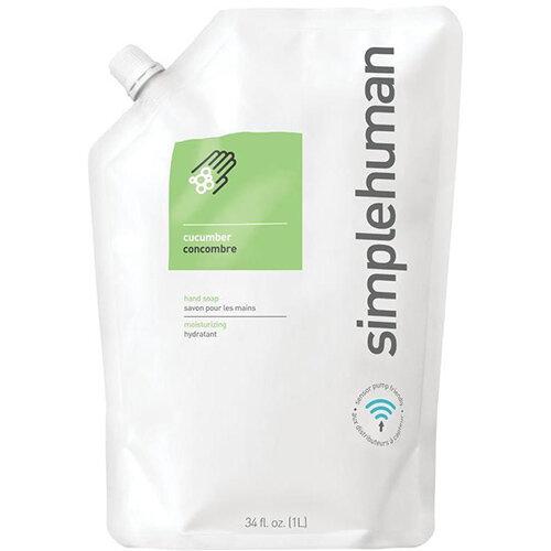 Simplehuman 1 Litre Soap Dispenser Refill Pouch, Moisturising Liquid Soap Cucumber Scent CT1020