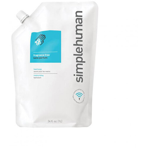 Simplehuman 1 Litre Soap Dispenser Refill Pouch, Moisturising Liquid Soap Fragrance Free CT1023