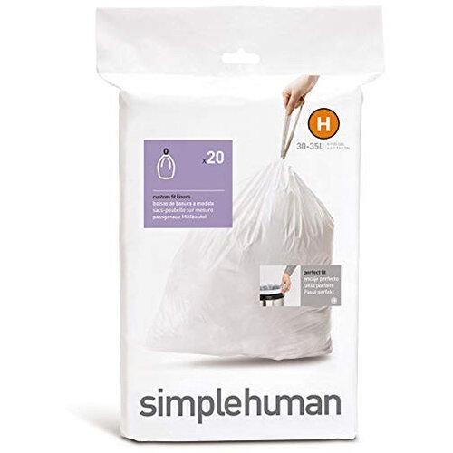 Simplehuman Custom Fit Bin Liners Code H 30-35L, Pack of 20 CW0168