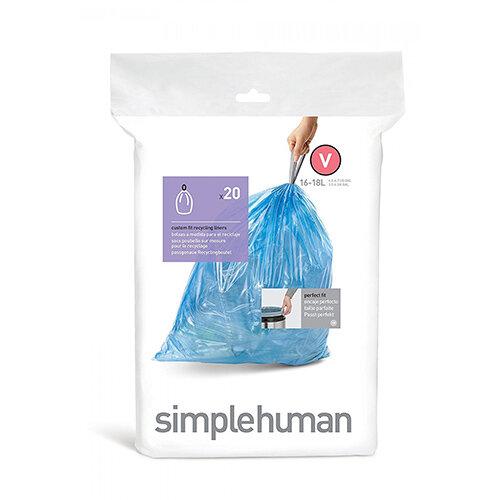 Simplehuman Custom Fit Bin Liners Code V 16-18L, Pack of 20 CW0298
