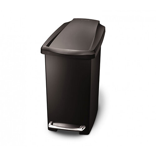 Simplehuman Slim Design Plastic Bathroom Bin 10L Pedal Operated Black CW1329