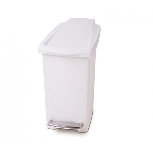 Simplehuman Slim Design Plastic Bin 10L Pedal Operated White CW1332