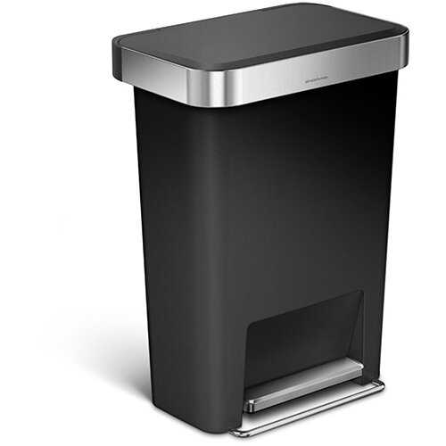 Simplehuman Rectangular Plastic Bin 45L Pedal Operated Black With Liner Pocket CW1385CB