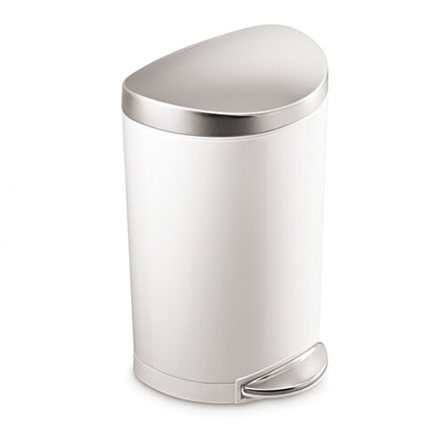Simplehuman Semi-Round Steel Bin 10L Pedal Operated White Steel With Brushed Steel Lid &Pedal CW1867