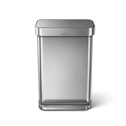 Simplehuman Rectangular Steel Bin 55L Pedal Operated Brushed Stainless Steel CW2023