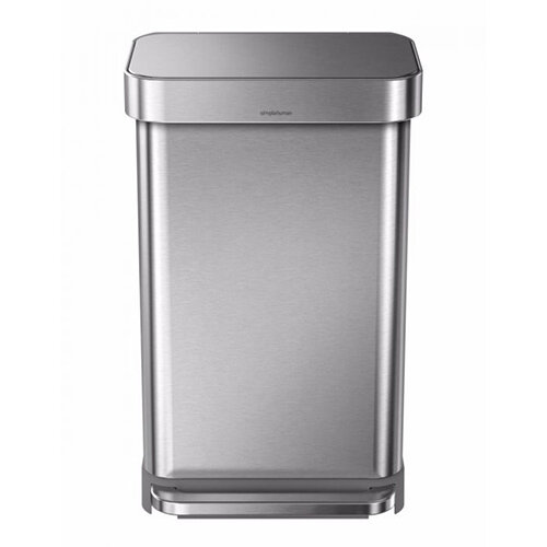 Simplehuman Rectangular Steel Bin 45L Pedal Operated Brushed Stainless Steel CW2024