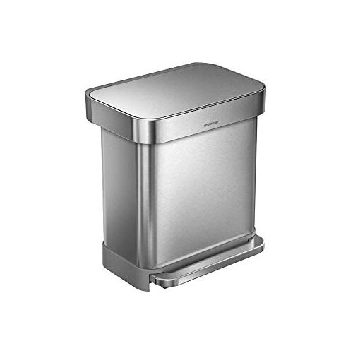 Simplehuman Rectangular Steel Bin 30L Pedal Operated Brushed Stainless Steel CW2028
