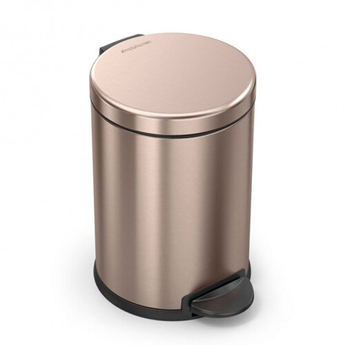 Simplehuman Round Bathroom Bin 4.5L Pedal Operated Rose Gold Steel CW2056