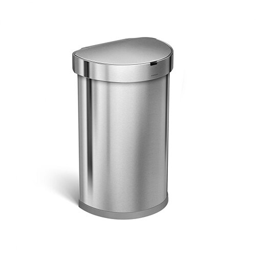 Simplehuman Semi-Round Sensor Bin 45L Brushed Stainless Steel for Use With 4 AA Batteries (Included) ST2009