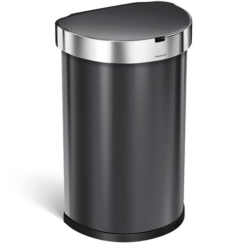 Simplehuman Semi-Round Sensor Bin 45L Black Stainless Steel for Use With 4 AA Batteries (Included) ST2021