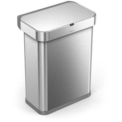 Simplehuman Rectangular Sensor Bin 58L With Voice &Motion Control Brushed Stainless Steel for Use With Power Adapter (Included) or 4 AA Batteries (Not Included) ST2022