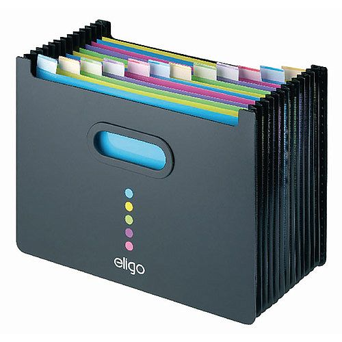 Snopake Eligo Desk Expander 13 Part Landscape Black. Ideal For Any Shelf Or Desk With Limited Space. Made From Strong Polypropylene. Suitable For Any Office, School, College, Home &More.