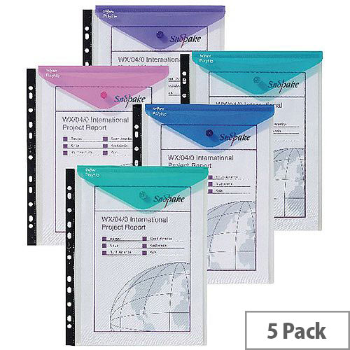 Snopake Polyfile Ring Binder Wallet Electra Assorted Pack of 5 15695