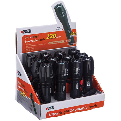 Object Ultra Bright Zoomable Torch 220 Lumens Pack of 12 SP158