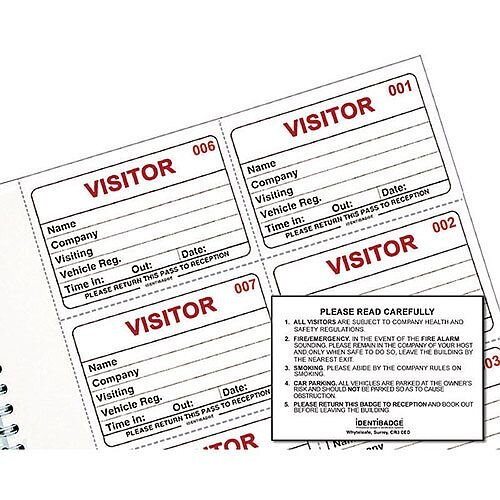 Identibadge System Visitors Book Refill 300 Inserts IBRSYS300