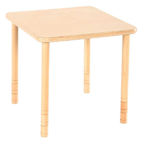 Flexi Square Height Adjustable Table 48-58cm Beech Finish
