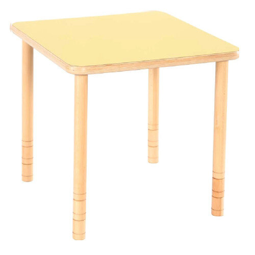 Flexi Square Height Adjustable Table 48-58cm Yellow Top