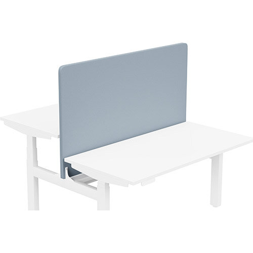 Acoustic Screen For Leap Height Adjustable Bench W1400xH850mm - Camira LUCIA Fabric - Colour Code: YB095-Steel