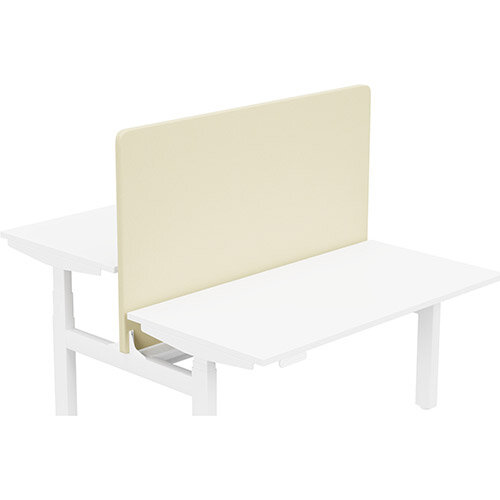Acoustic Screen For Leap Height Adjustable Bench W1400xH850mm - Camira LUCIA Fabric - Colour Code: YB107-Oyster
