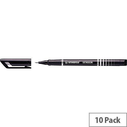 Stabilo Black Sensor Fineliner Pens Pack of 10
