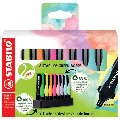 Stabilo Green Boss Desk Set Highlighter Assorted Pack of 8 6070/08-5
