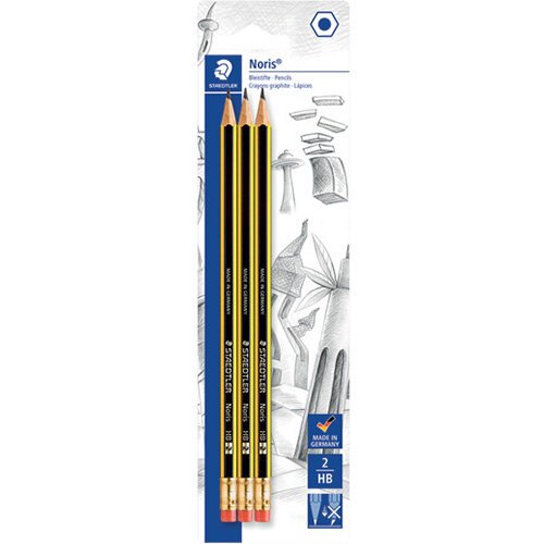 Noris Blister Card of 3 Eraser Tip Pencils Pack of 10 122-2BK3DA