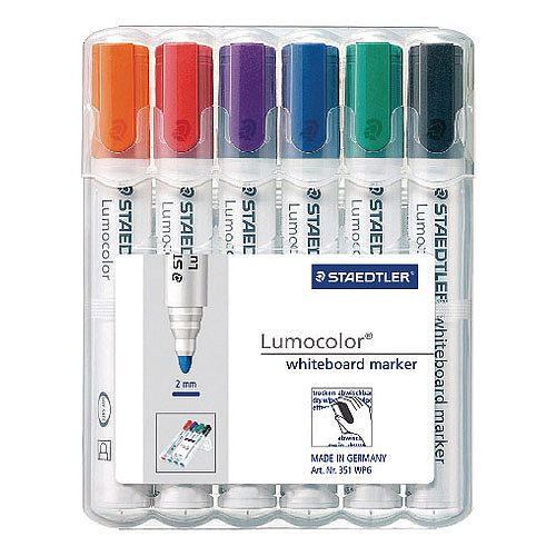 Staedtler Lumocolor 351 Drywipe Whiteboard Markers Assorted Pack of 6 351 WP6