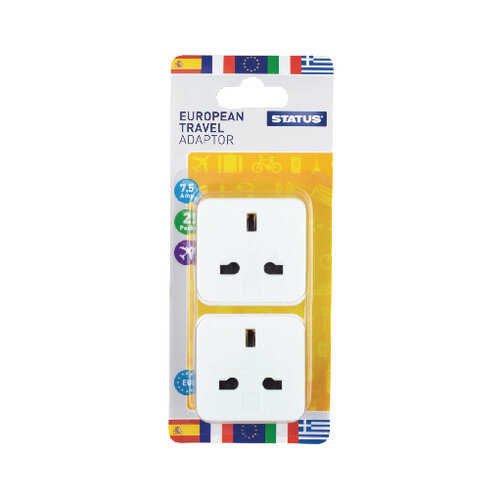 Status European Travel Adaptor Pack of 8 SEUROAB2Pk4