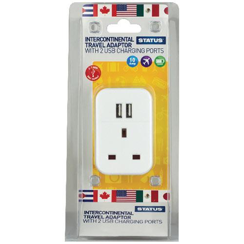 Status Intercontinental USB Travel Adaptor Pack of 3 S2USBPTINTER1PK3