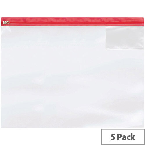 BDS Heavy Duty Zip Bag A3 Assorted Pack of 5 4713